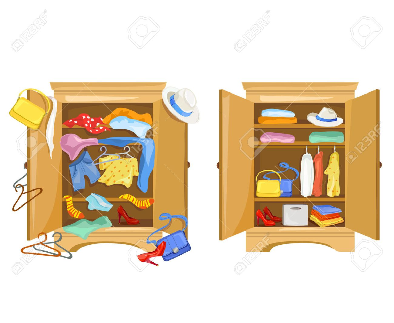 wardrobes with clothes. tidy and clutter in the closet. vector illustration Standard-Bild - 68720082