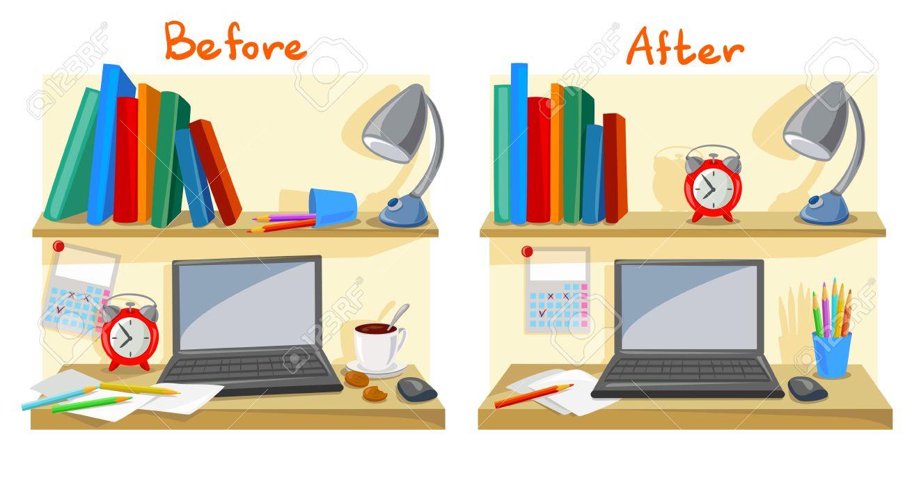 messy desktop clutter, tidy desk. vector illustration - 80999758