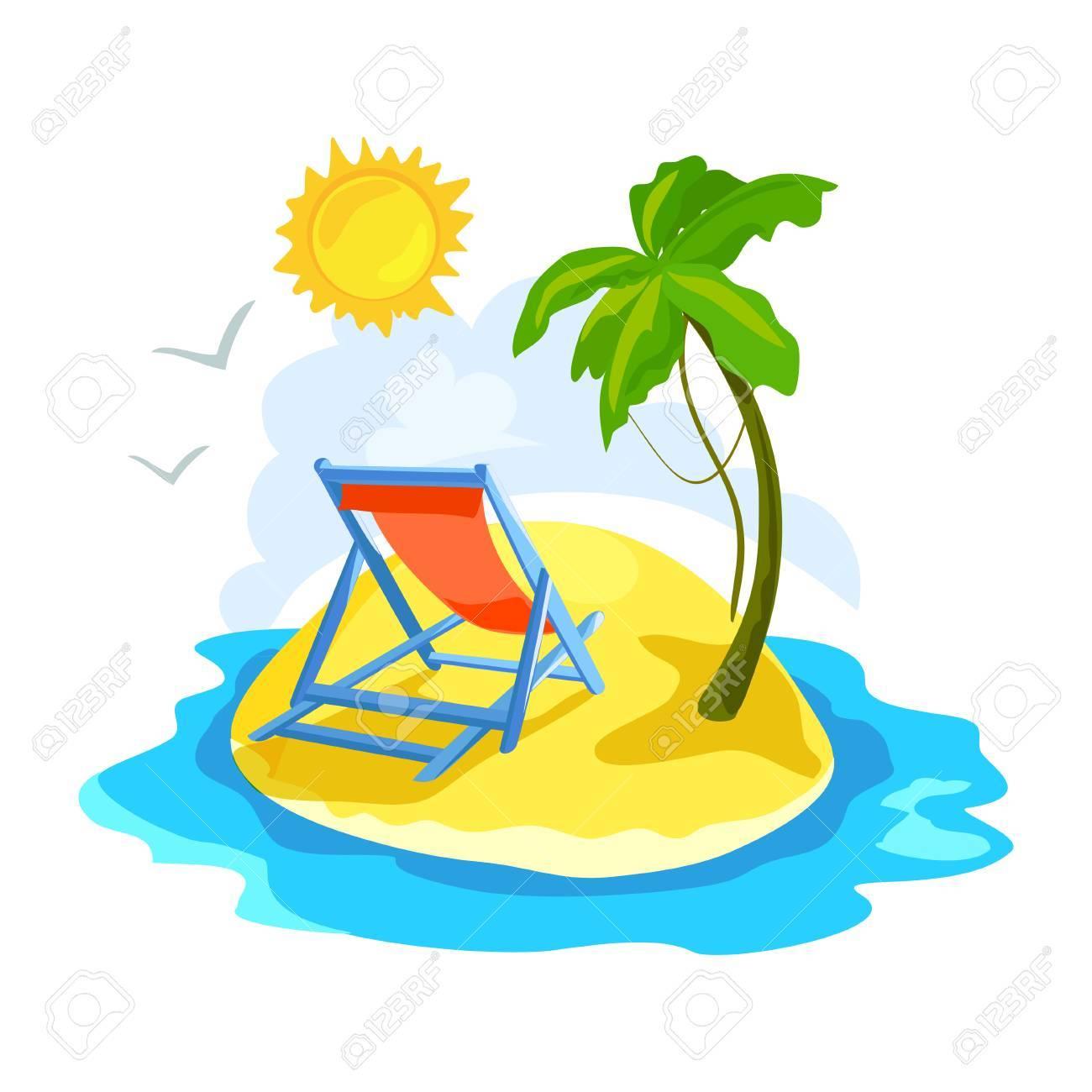 Palmiers Chaise Des Le Avec Et LongueIllustration Une Vectorielle Tropicale zpLqUVGSM