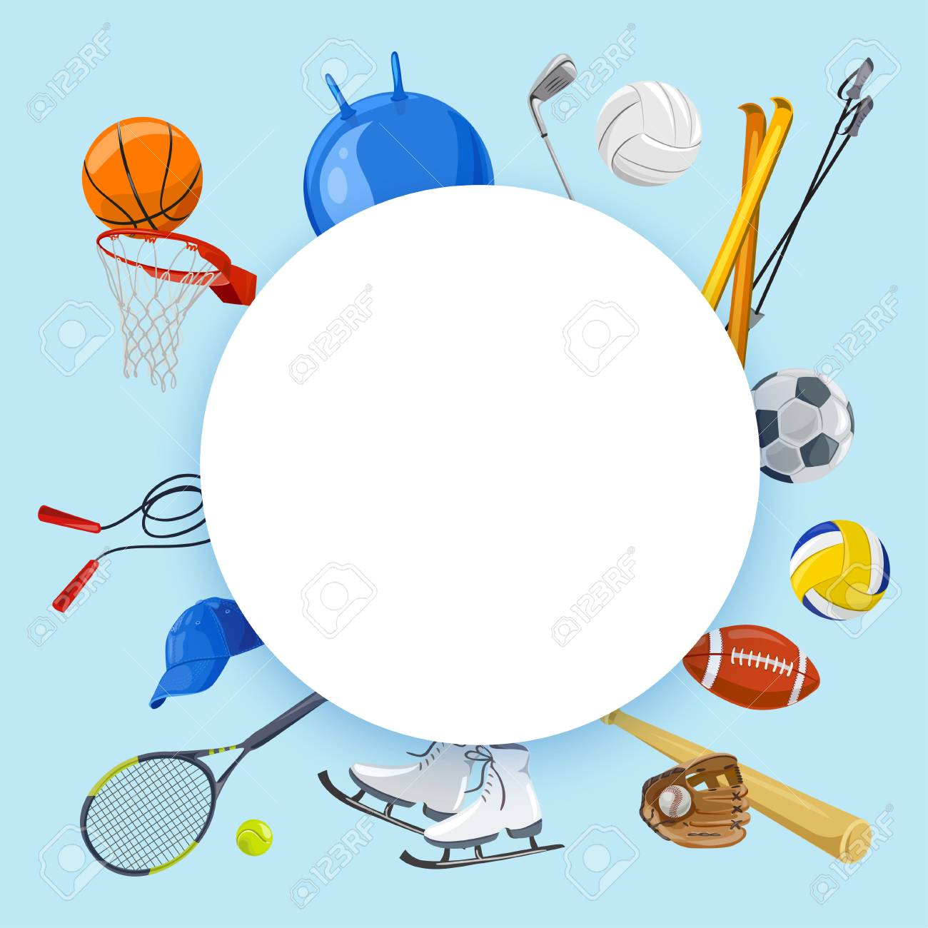 Sporty Background Various Sports Vector Illustration Stock