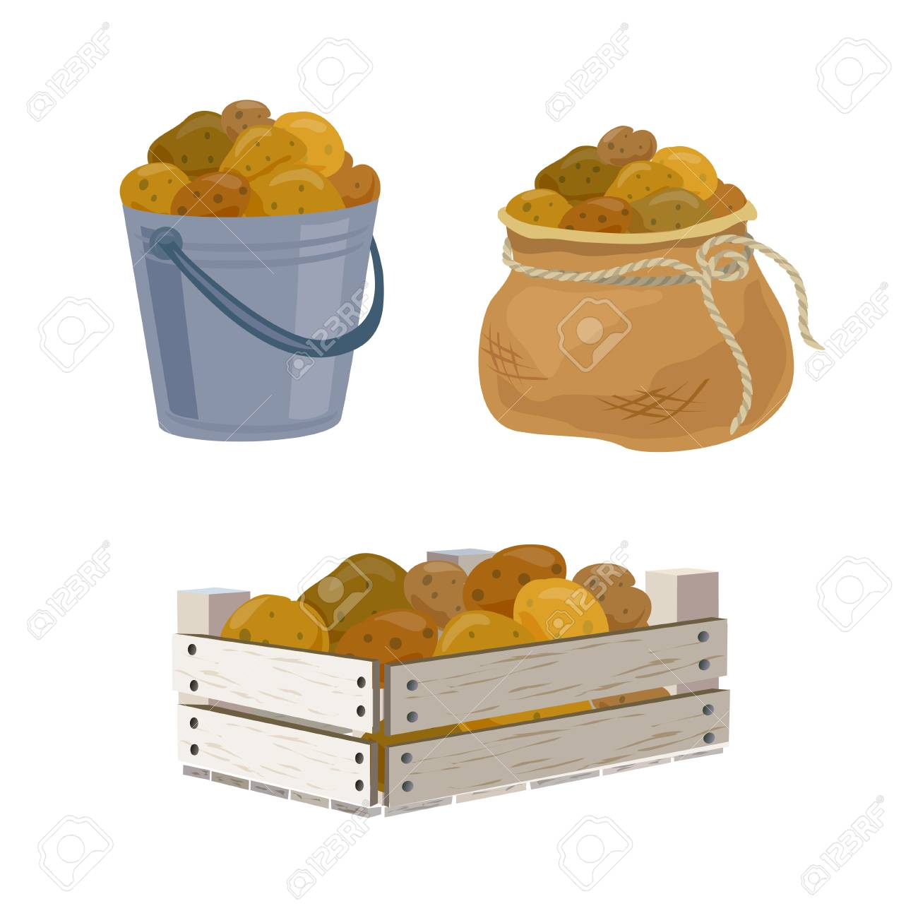 potato harvest in different containers. vector illustration - 113257519