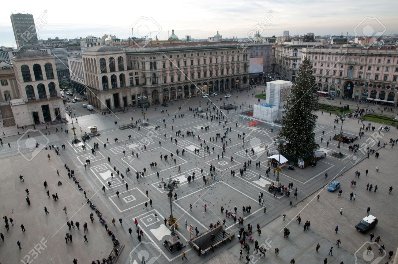 Aerial View Of Piazza Del Duomo Milan Stock Photo Picture And