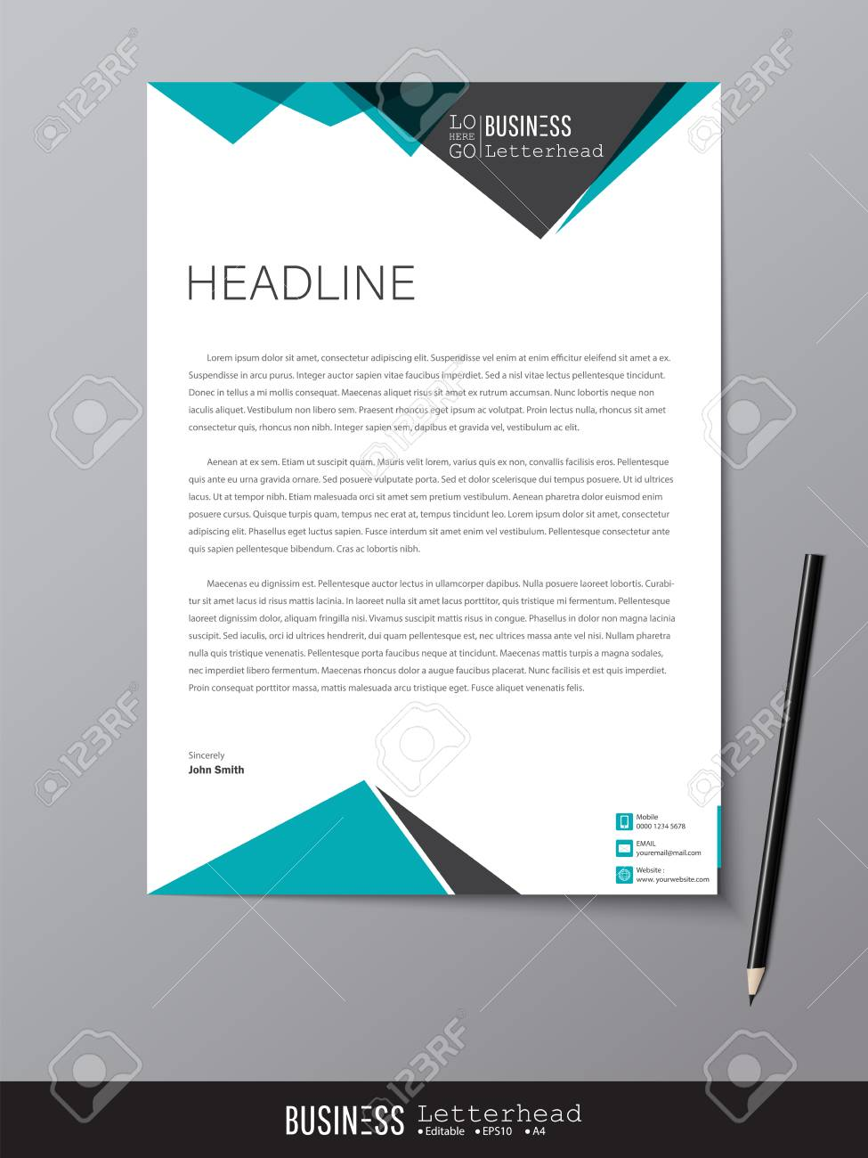 Letterhead design template and mockup minimalist style vector letterhead design template and mockup minimalist style vector design for business or letter layout accmission