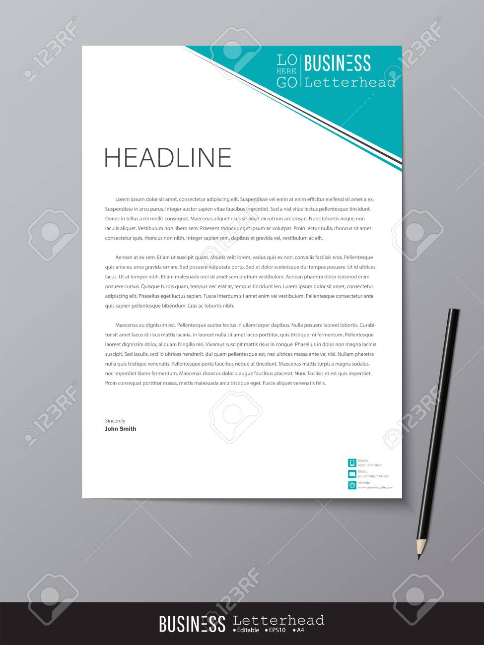 Letterhead design template and mockup minimalist style vector letterhead design template and mockup minimalist style vector design for business or letter layout spiritdancerdesigns Images