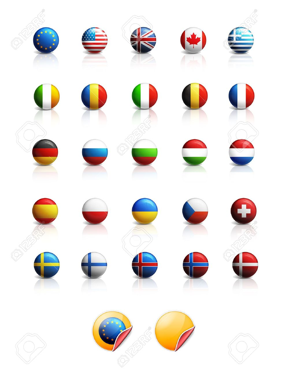 Set of glossy national flags icons Stock Photo - 13070356