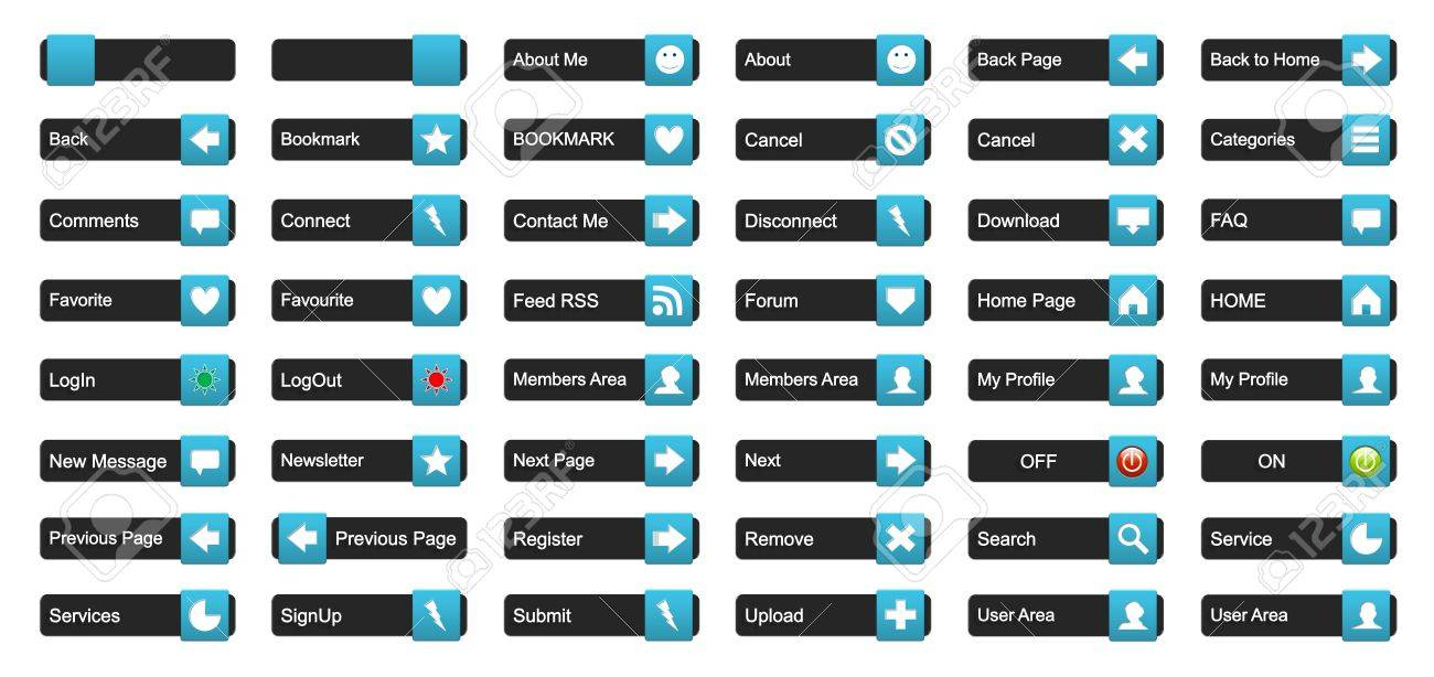 Complete set of 3D buttons for website use Stock Photo - 13128696