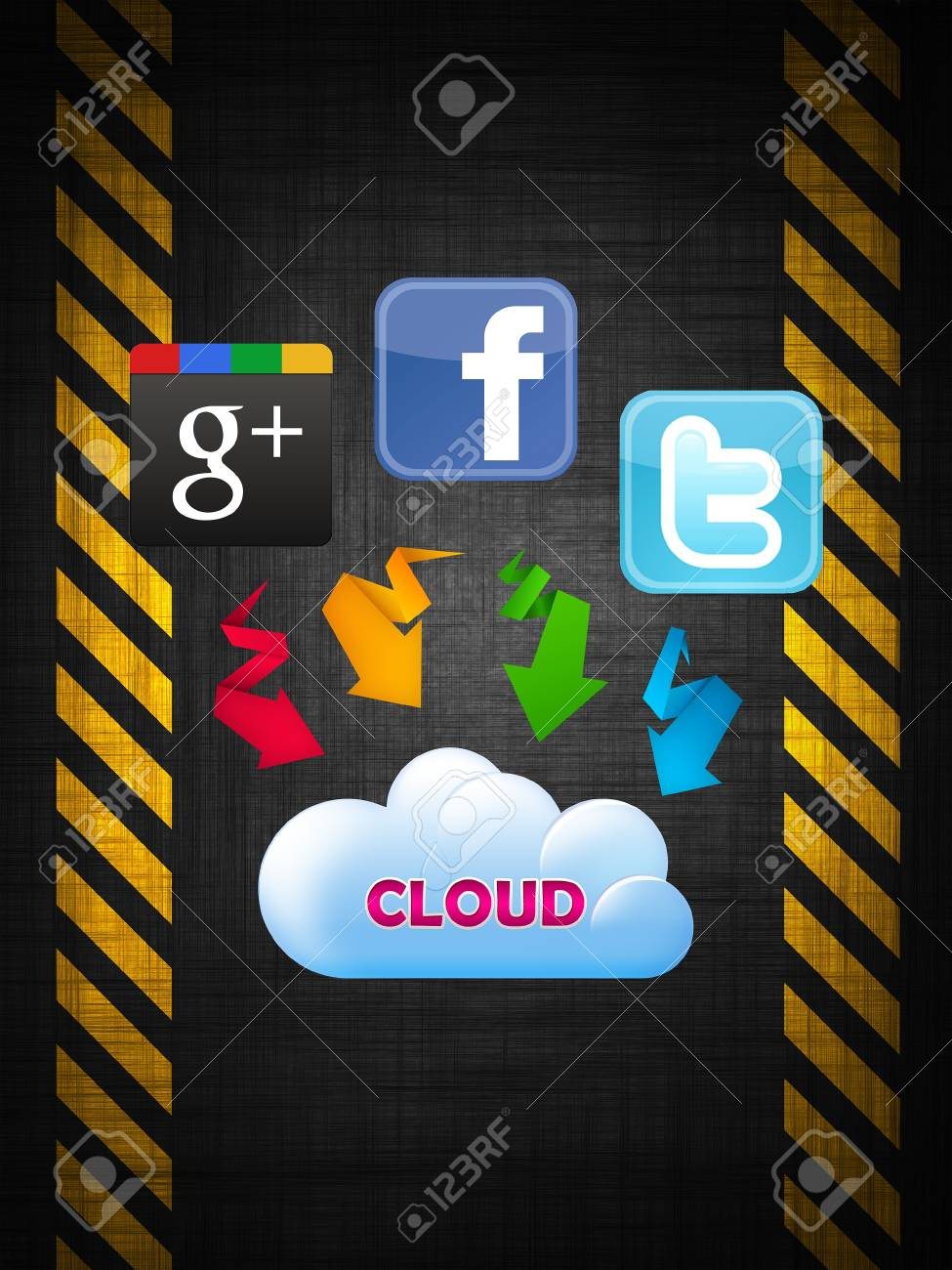 The Cloud technology connected to social networks Stock Photo - 19510154