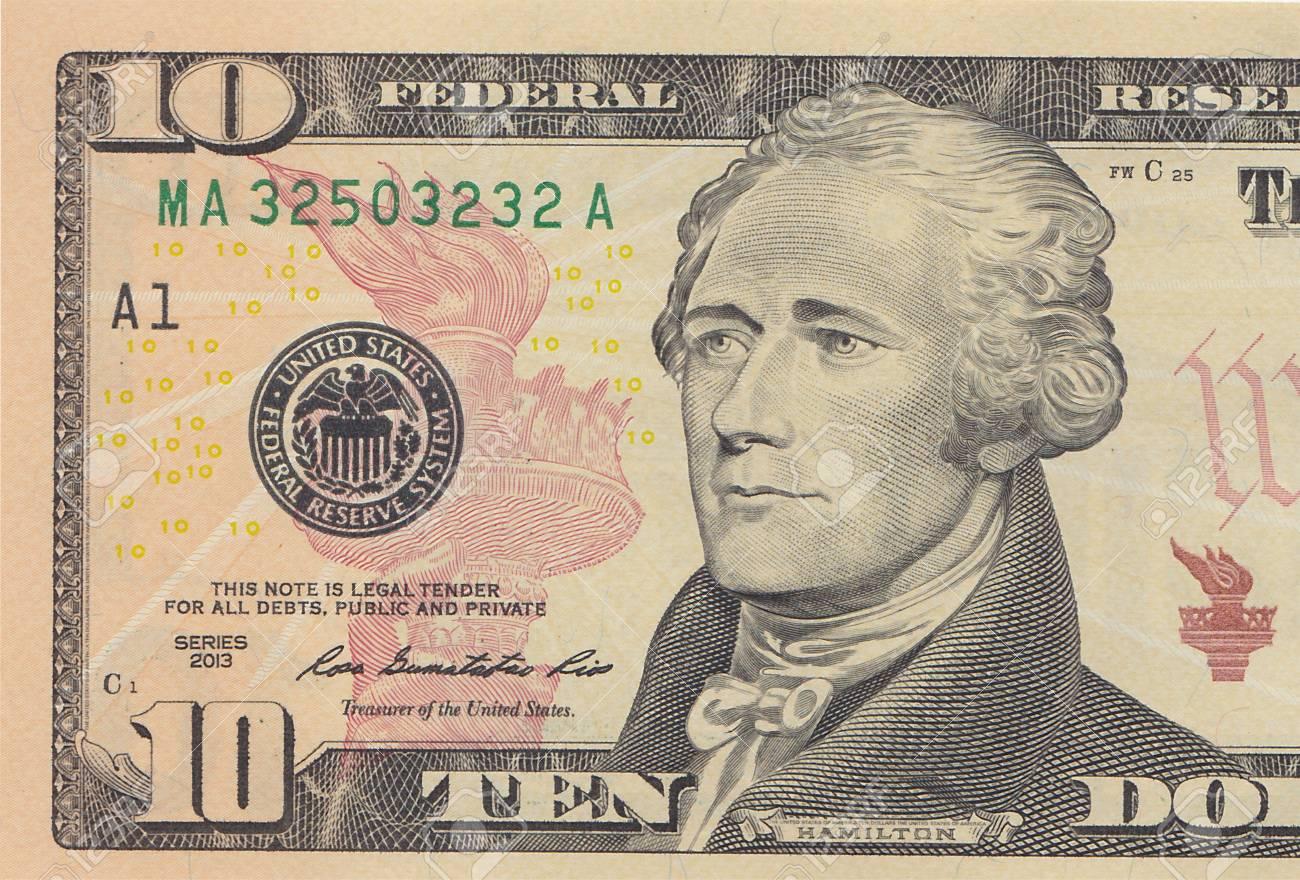 10 ドル紙幣 10 Usd クローズ アップ マクロ、アレクサンダー ...