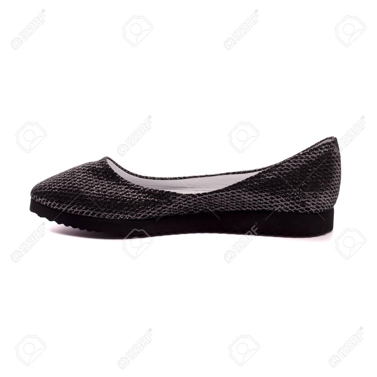 f7840e08c black women's shoes isolated on white background Stock Photo - 91085975