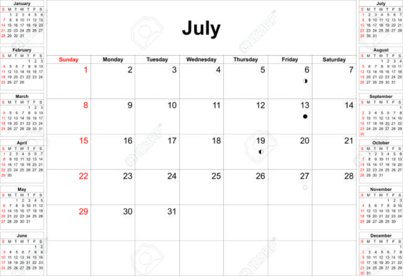 English Calendar Template For Year 2018 Set Of 12 Months Week