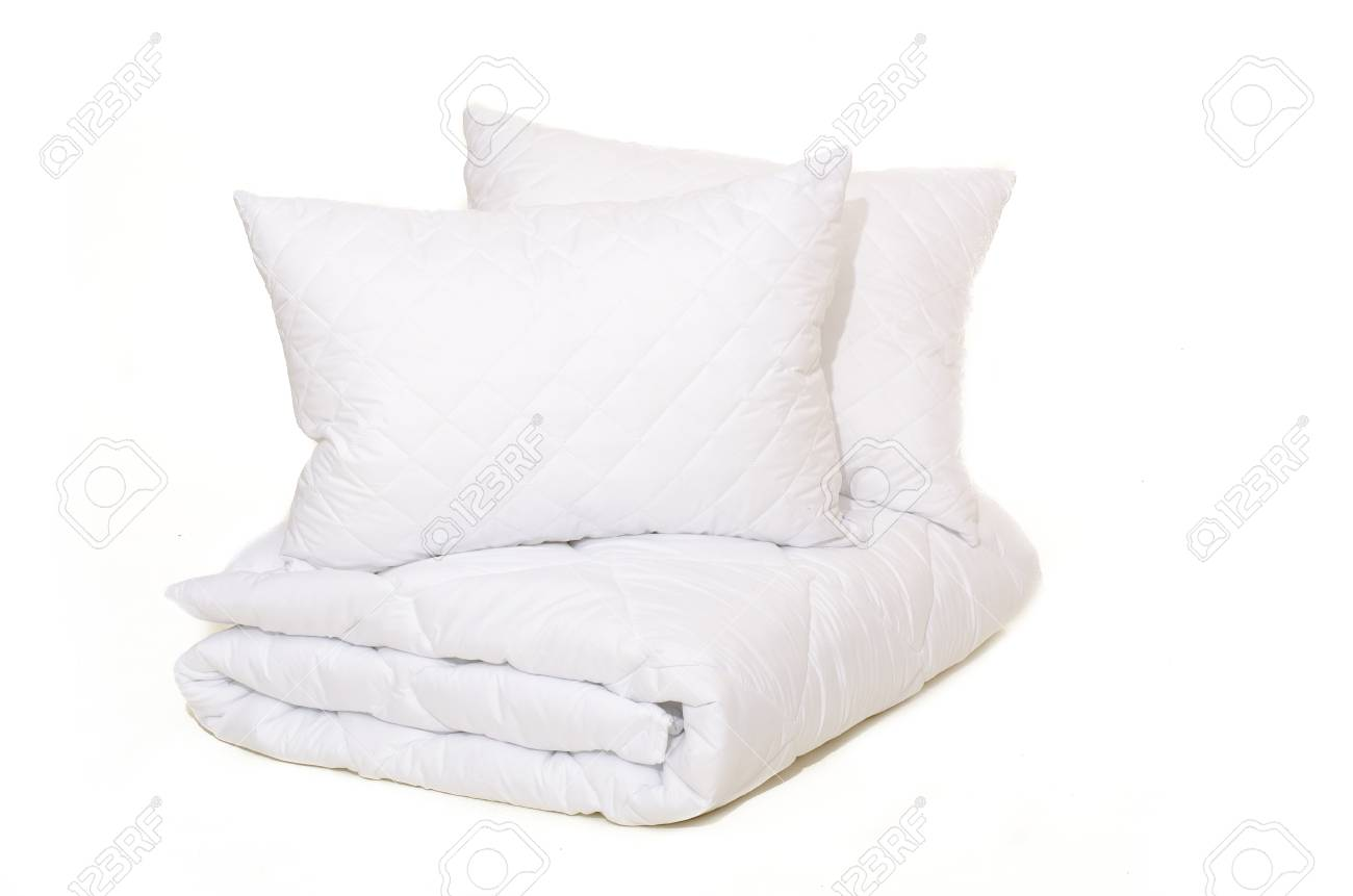 Rolled white duvet cover on white isolated background - 121073562