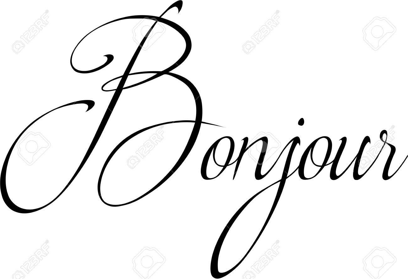 Cute Bonjour Text Sign Illustration On A White Background Royalty Free Cliparts Vectors And Stock Illustration Image 75533517
