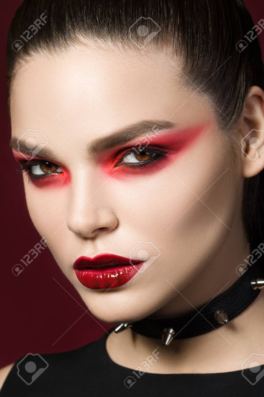 Young Beautiful Gothic Woman With White Skin And Red Lips With Stock Photo Picture And Royalty Free Image Image 44188239