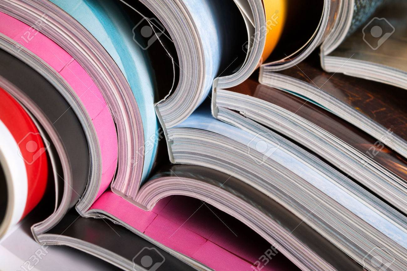 Close-up of stack of colorful magazines. Press, news and magazines concept - 46777683