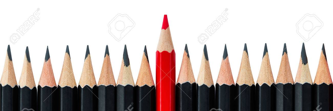 One red pencil standing out from the row of black pencils. Letter box format - 50649026