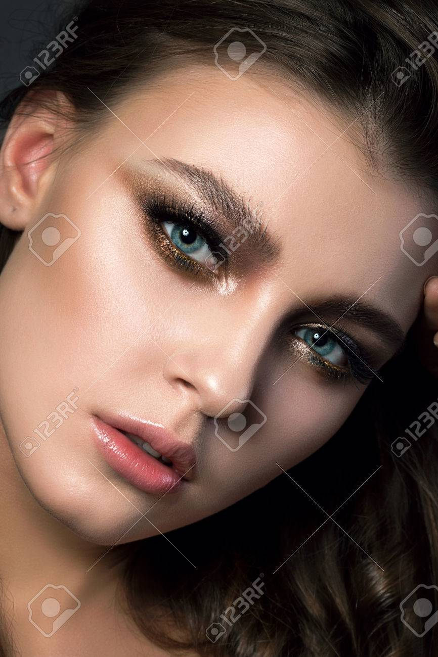 Closeup Portrait Of Young Beautiful Woman With Bridal Makeup Stock