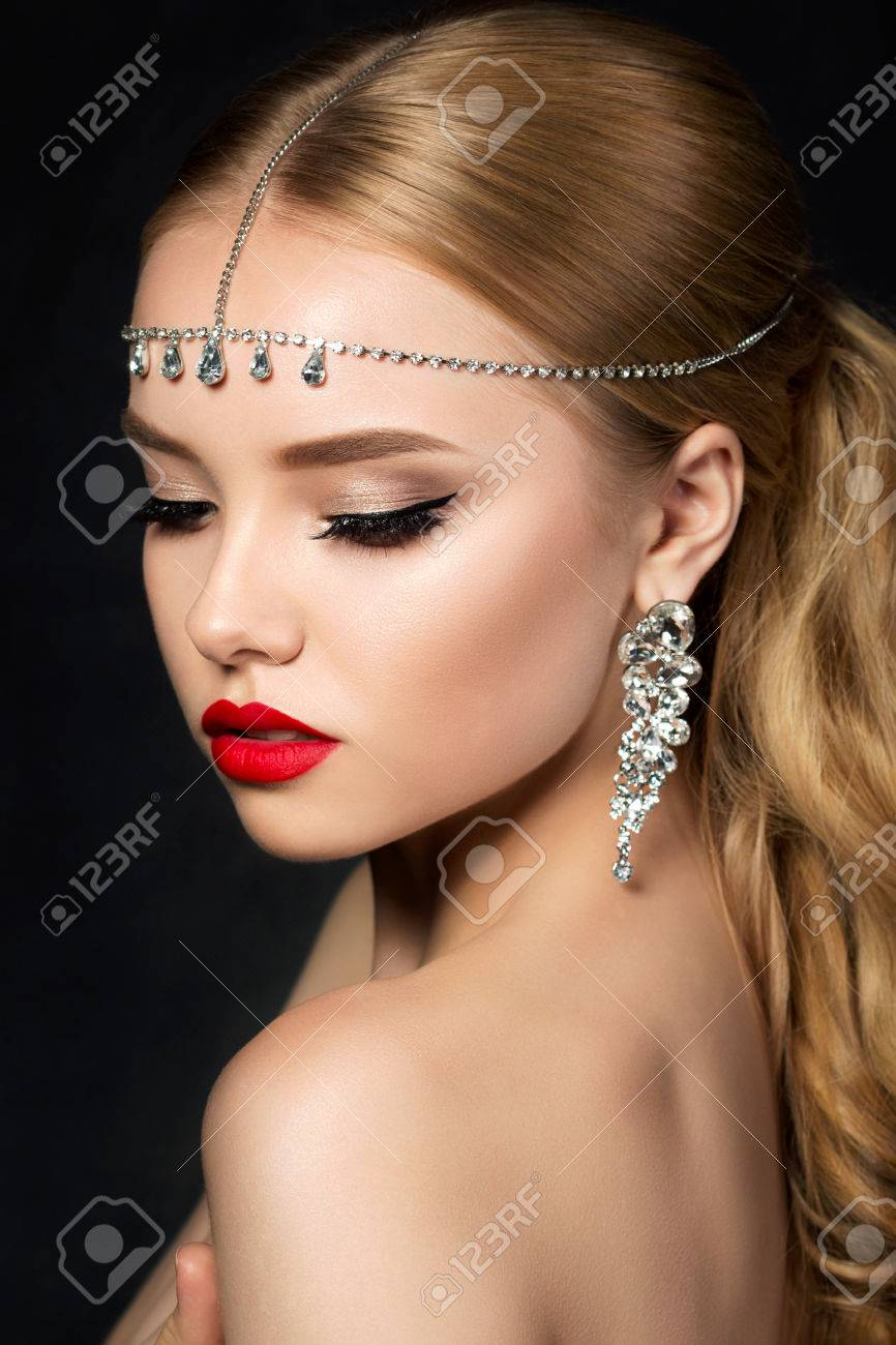 Portrait Of Young Beautiful Woman With Evening Make Up Looking Stock Photo Picture And Royalty Free Image Image 69441176
