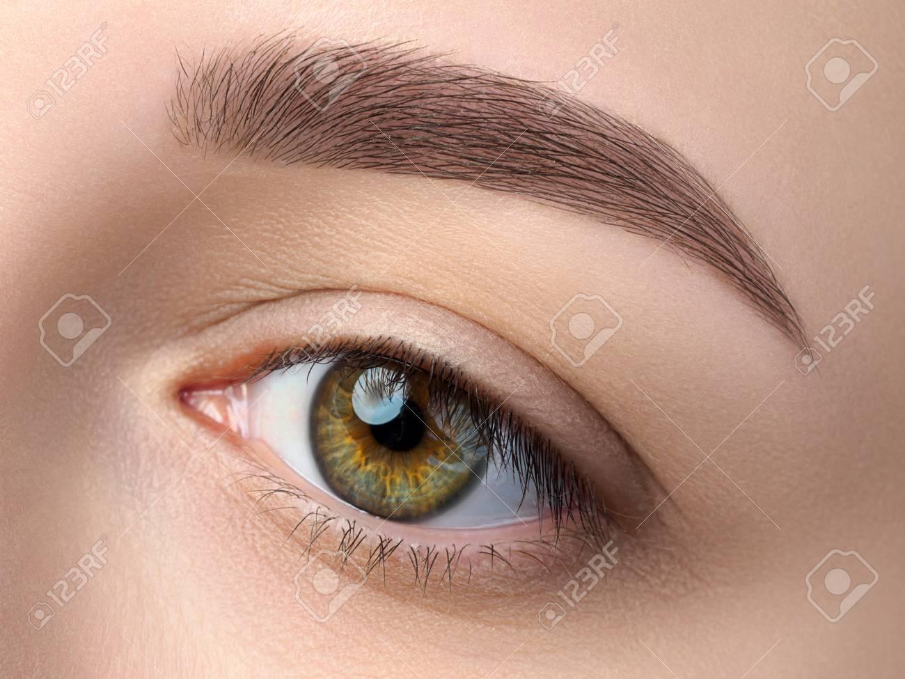 49de0ff967 Cerrar la vista del hermoso ojo femenino verde. Ceja de moda perfecta.  Buena visión