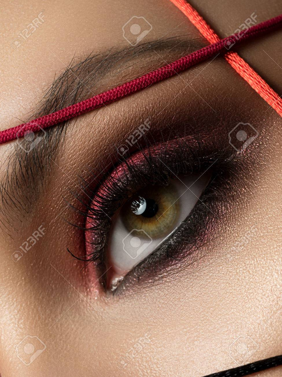 Close Up Fashion Portrait Of Young Beautiful Woman With Modern