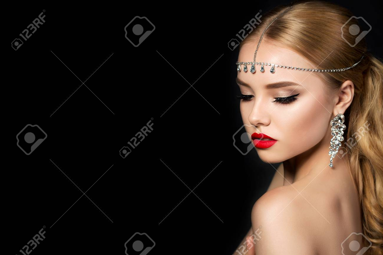 Portrait Of Young Beautiful Woman With Evening Make Up Looking Stock Photo Picture And Royalty Free Image Image 94363662
