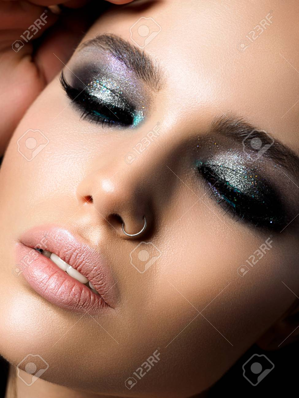 Close Up View Of Young Beautiful Woman Perfect Skin And Evening