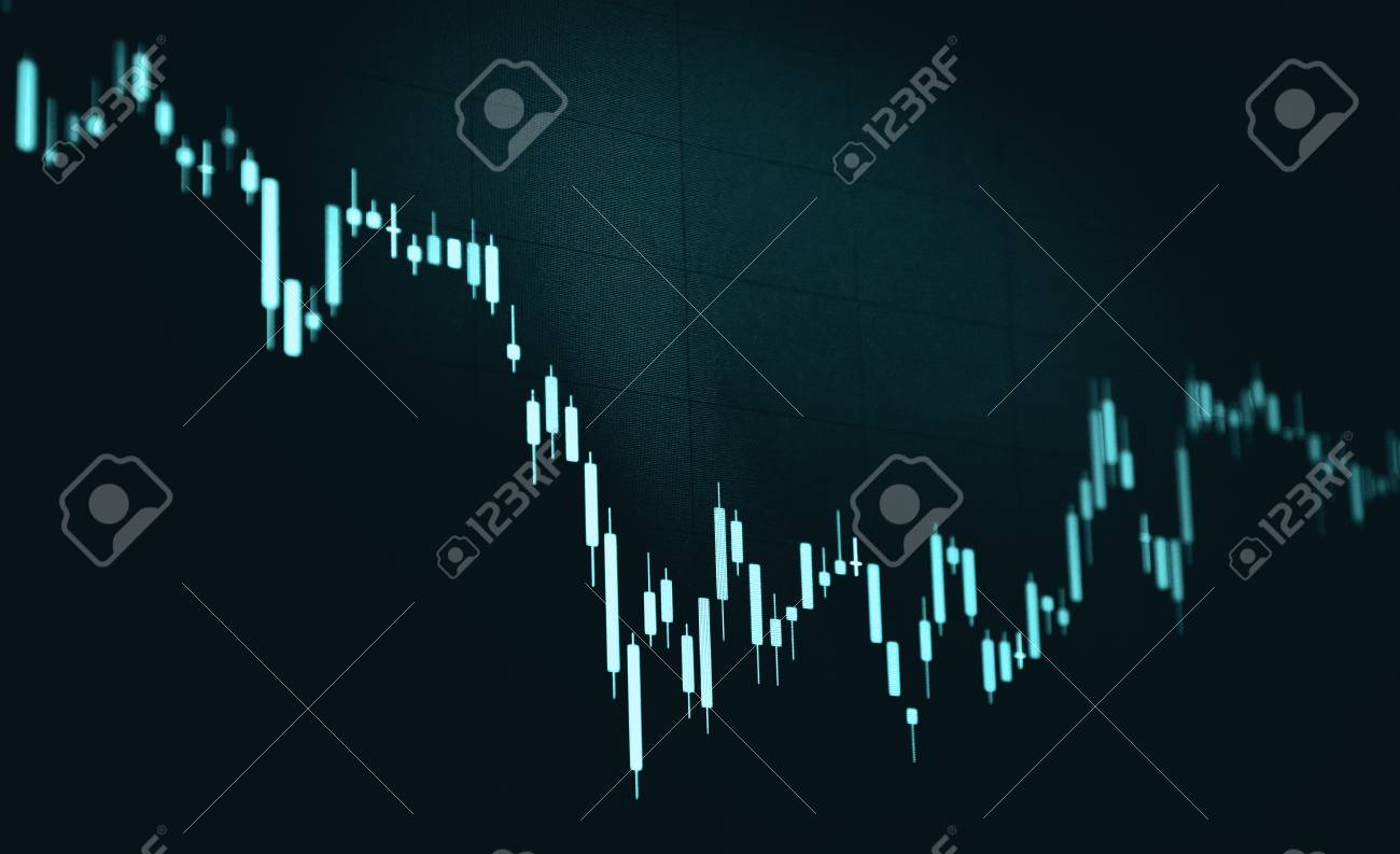 candlestick chart with black background, blue monotone color..