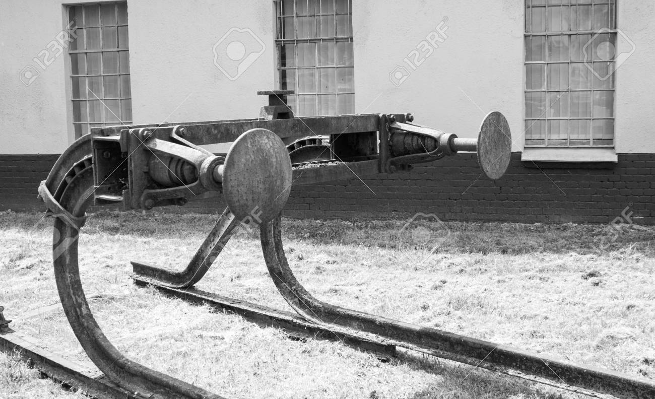 Black and white old buffer stop stock photo 42154277