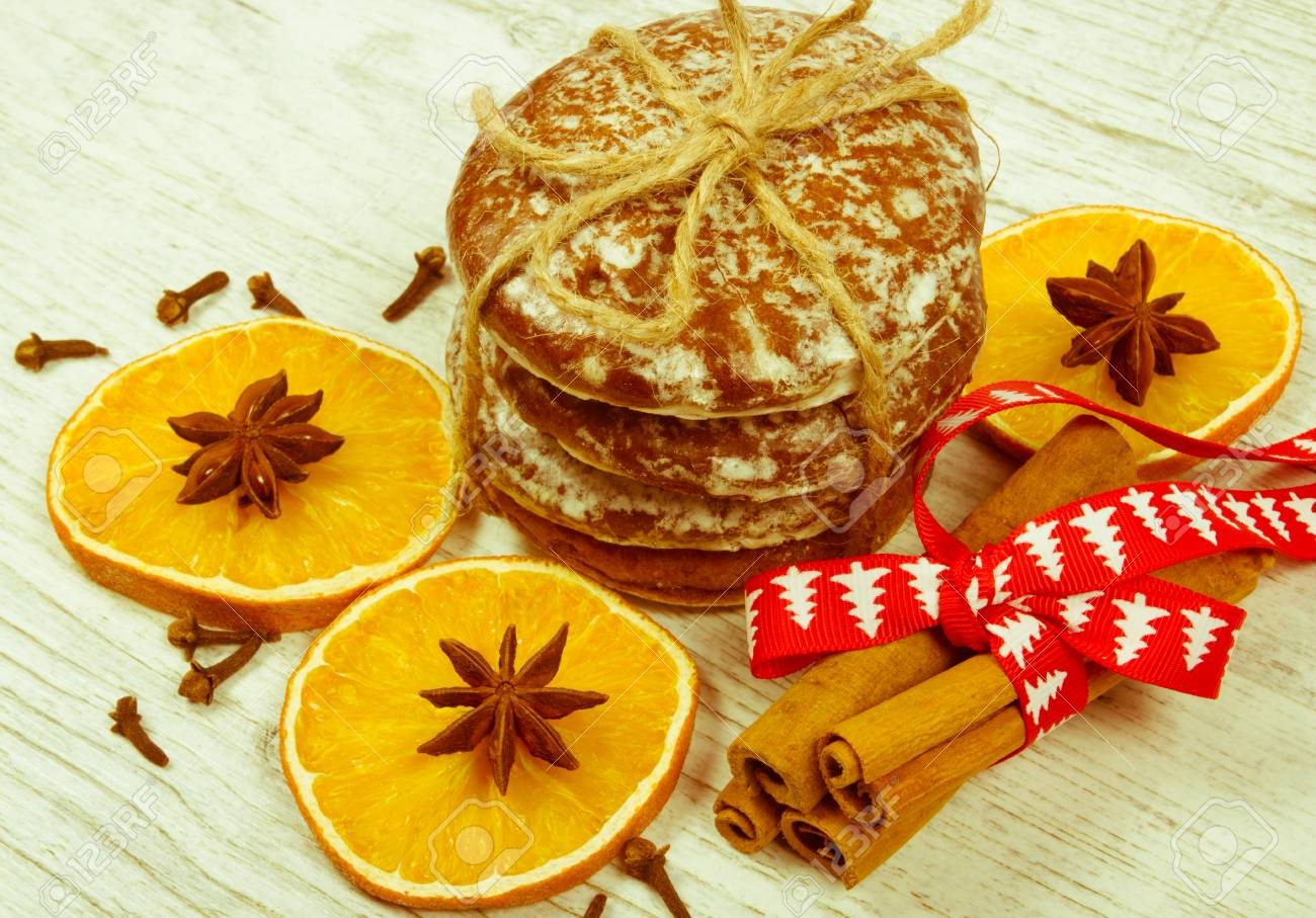 Christmas Decoration With Gingerbread Cookies Cinnamon And Orange