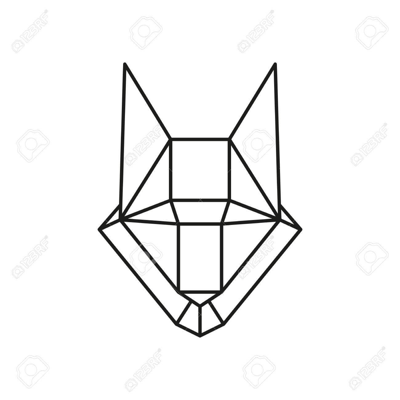 Geometrique Tete De Loup Animal Dessine En Ligne Ou Le Style De