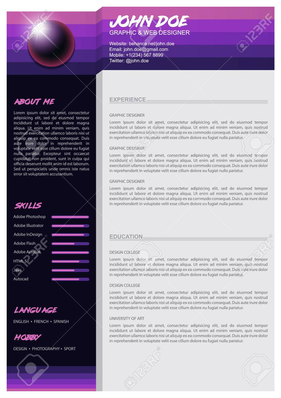 Minimalist Cv Resume Template Awesome For Job Applications Royalty