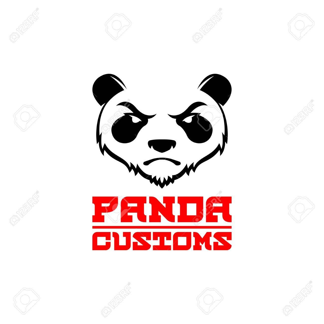 怒っているパンダのオリジナル デザイン エンブレム ラベル