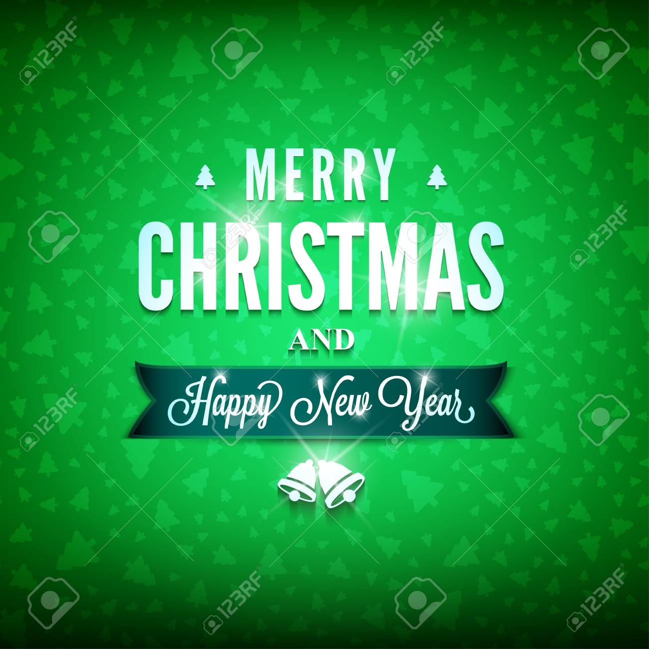 merry christmas and happy new year message on the green background christmas related ornaments objects