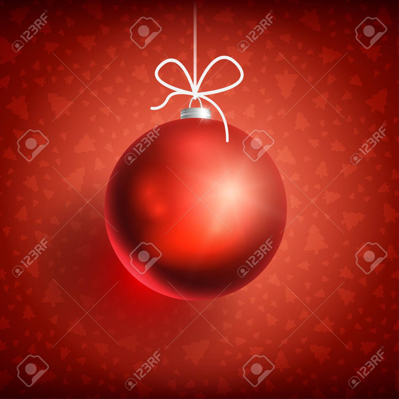 Red Christmas Ball On Background Related Ornaments Objects Color Greeting