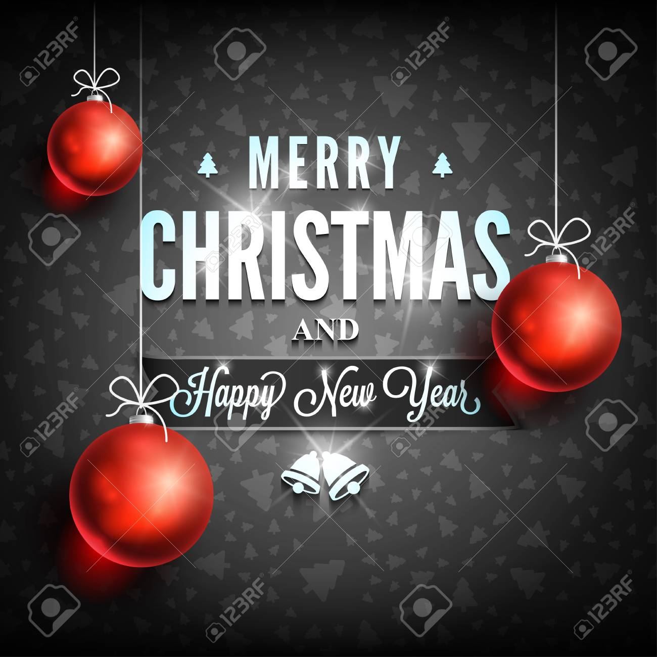 Merry Christmas And Happy New Year Message On Dark Background