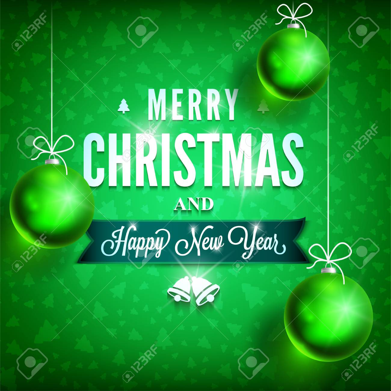 merry christmas and happy new year message on green background christmas related ornaments objects on