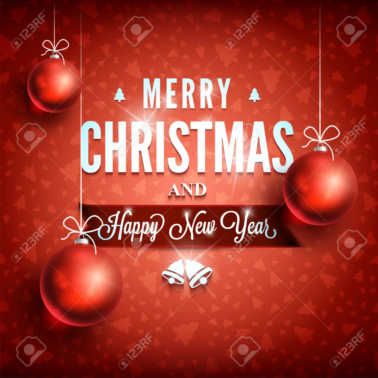 Merry christmas and happy new year message on red background merry christmas and happy new year message on red background christmas related ornaments objects on m4hsunfo
