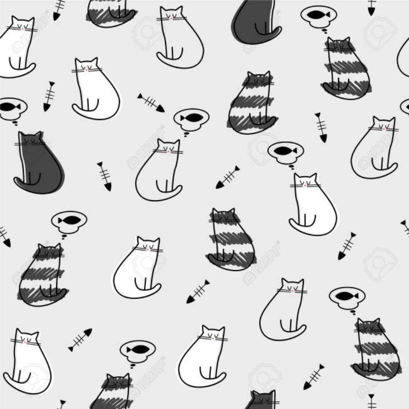 ベクトル イラスト シームレス パターン テクスチャ 背景壁紙猫魚骨