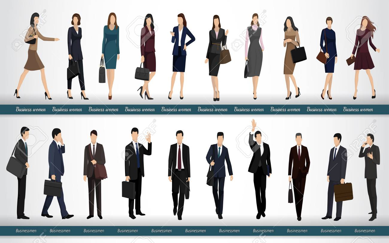 Group Of Business People In Business Suits Royalty Free Cliparts