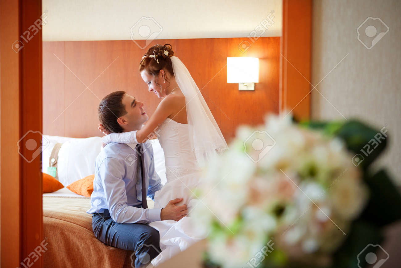 Newlywed Bedroom Newlywed Couple Romancing In The Bedroom Stock Photo Picture And