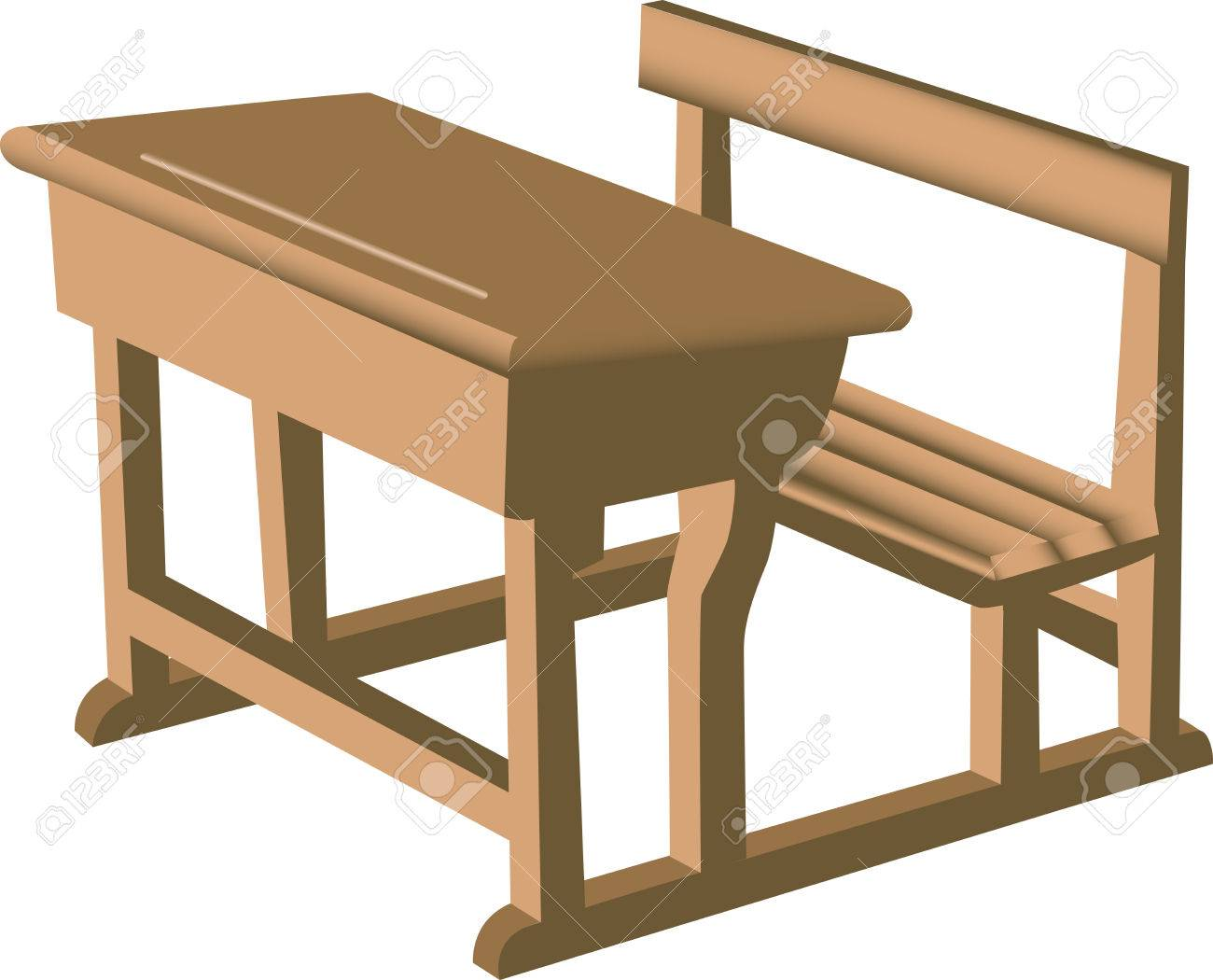 Illustration Of A Brown School Like Wooden Desk With Attached ...