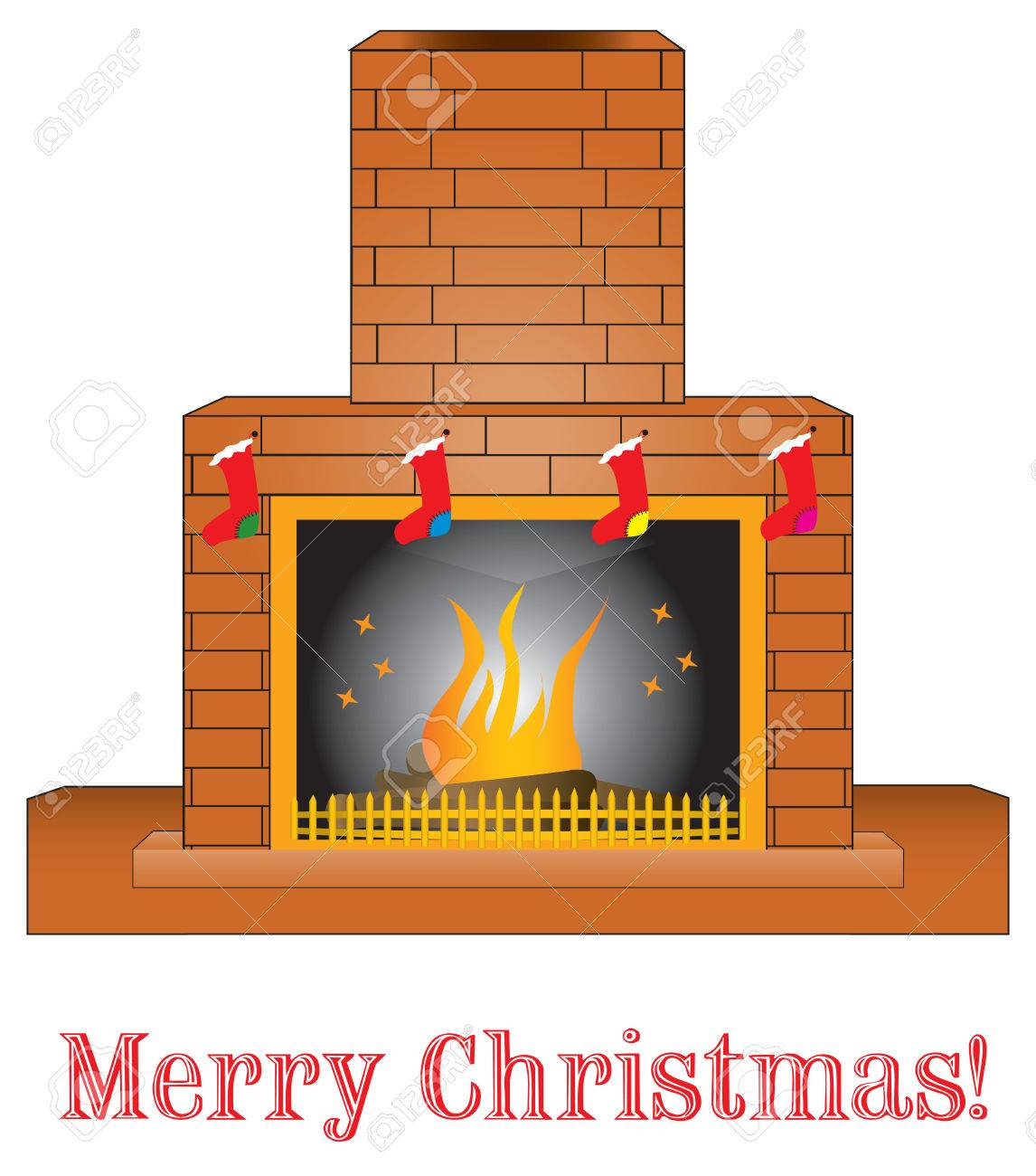 brick fireplace clipart. brick fireplace giving a warm presence with christmas stocking stock vector clipart