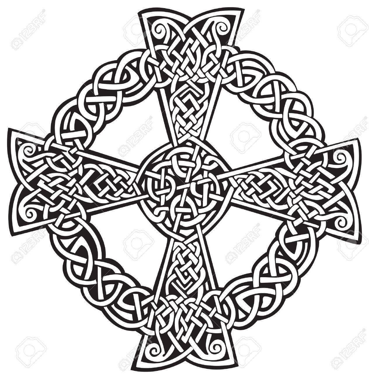 Dessin Celtique une illustration d'une croix celtique dans un dessin abstrait, isolé