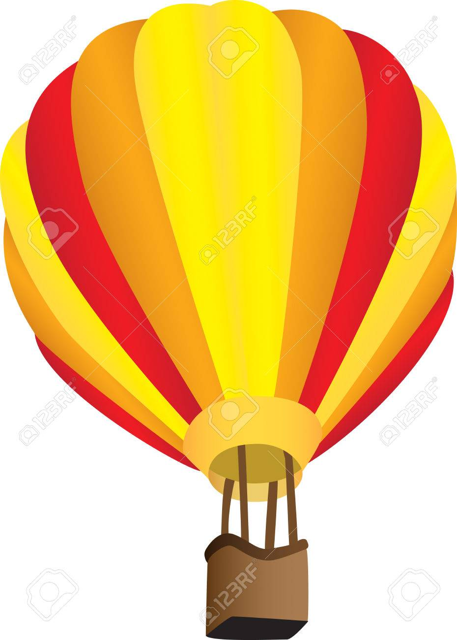 Three dimensional illustration of stripy hot air balloon, isolated on white background. Stock Vector - 8558214