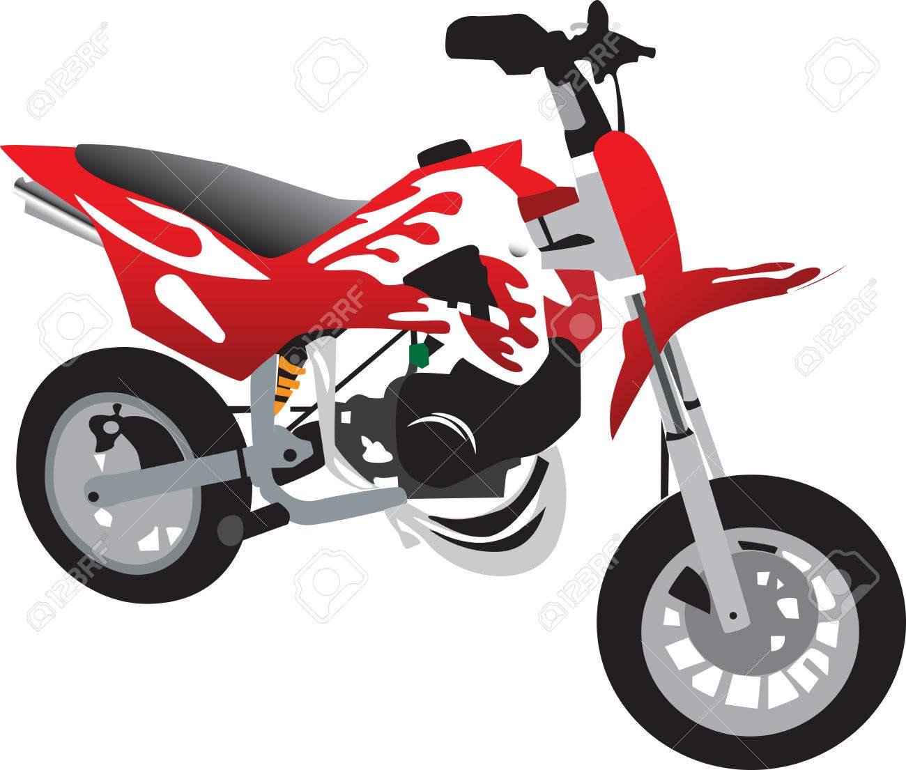 Motorcycle clip art with flames - Toy Motorcycle Red With White Flames Stock Vector 8558216