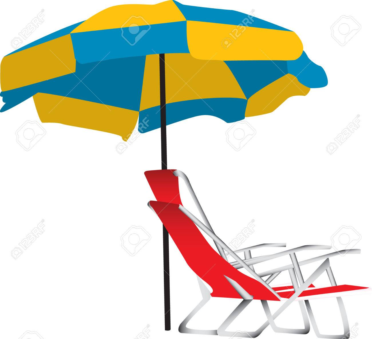 Beach lounge chair portable - Illustration Of A Blue And Yellow Beach Umbrella With A Portable Red Lounge Chair Underneath