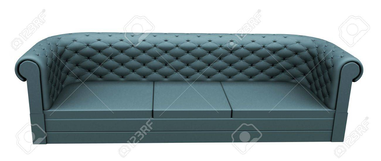 Turquoise Three Place Leather Or Fabric Sofa, Isoalted Against A White  Background. Stock Photo