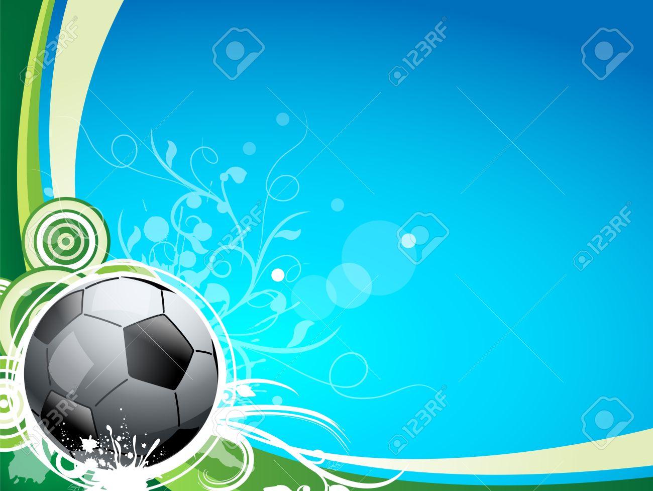 Foto de archivo - Una bola de deporte del fútbol en un fondo azul y verde 808997ffb3cf2