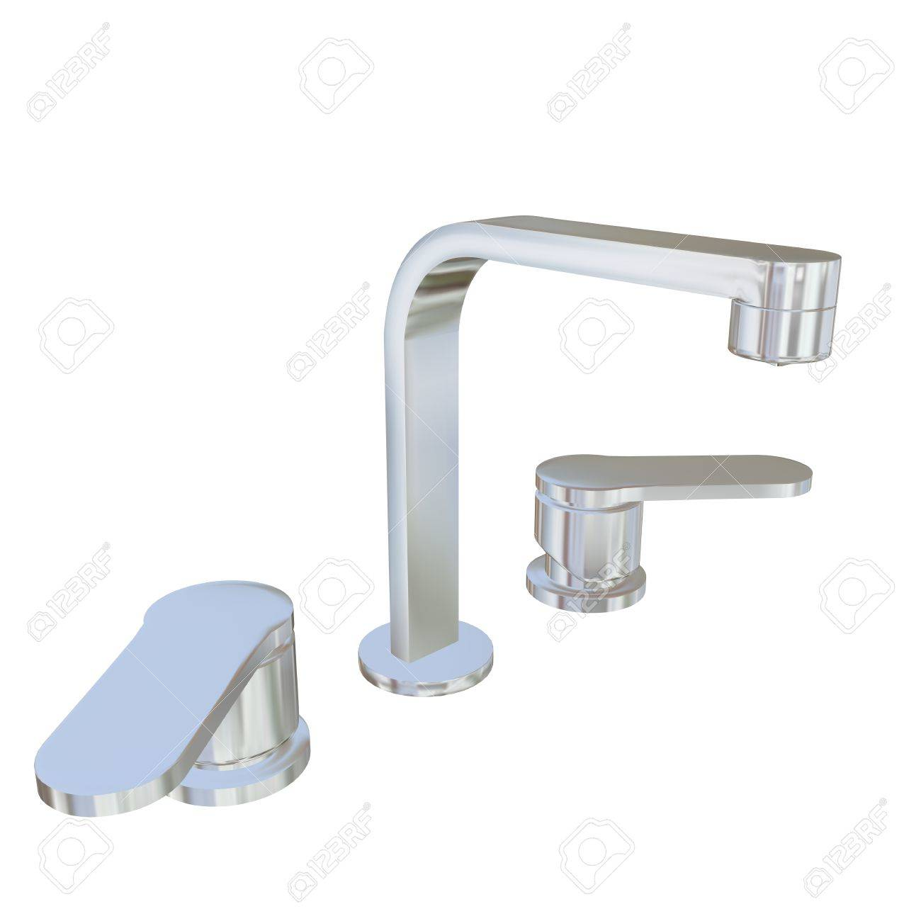 Modern Faucet With Chrome Or Stainless Steel Finishing, 3d ...