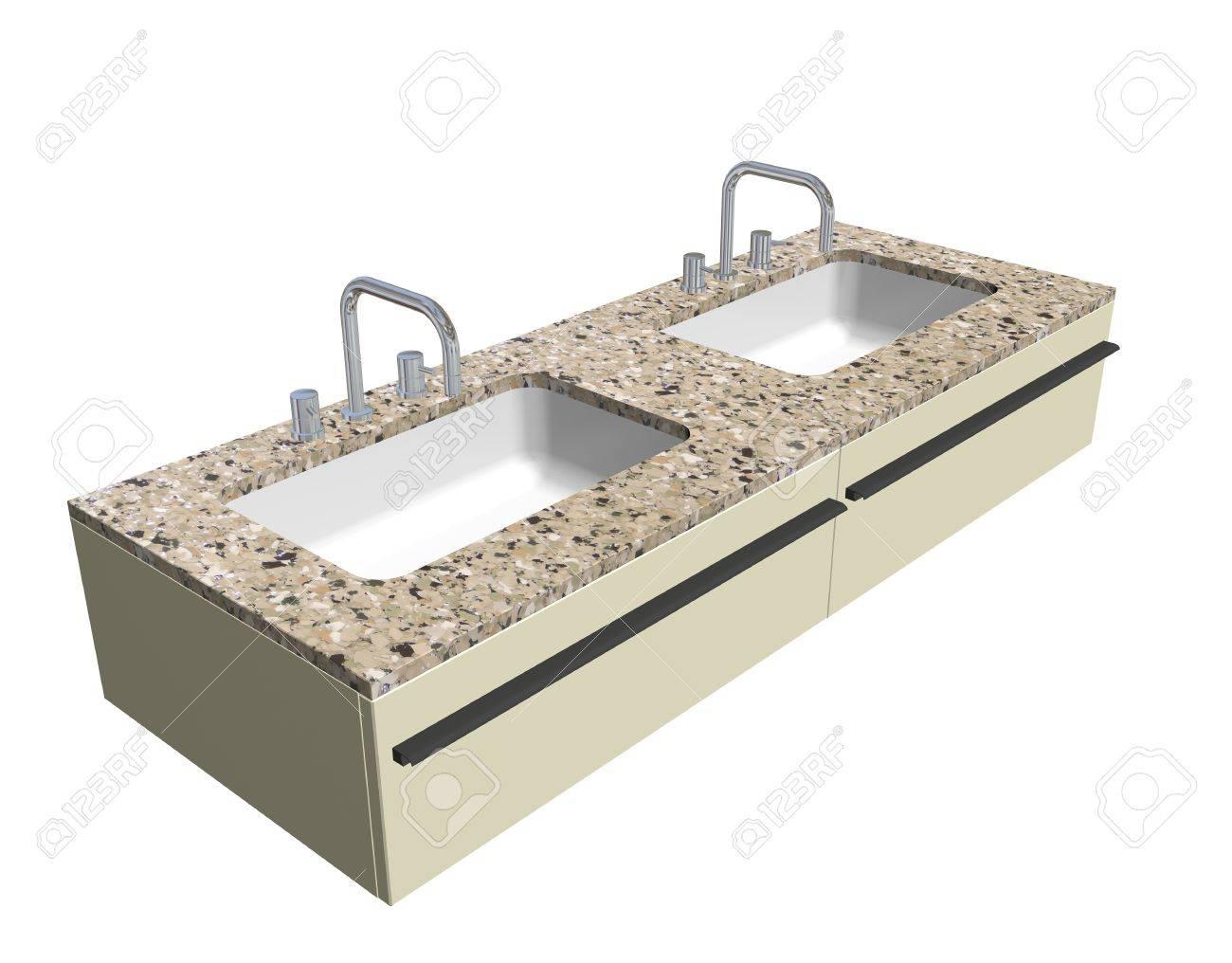 Granieten Wastafel Badkamer : Moderne badkamer wastafel set met granieten aanrechtblad en chroom
