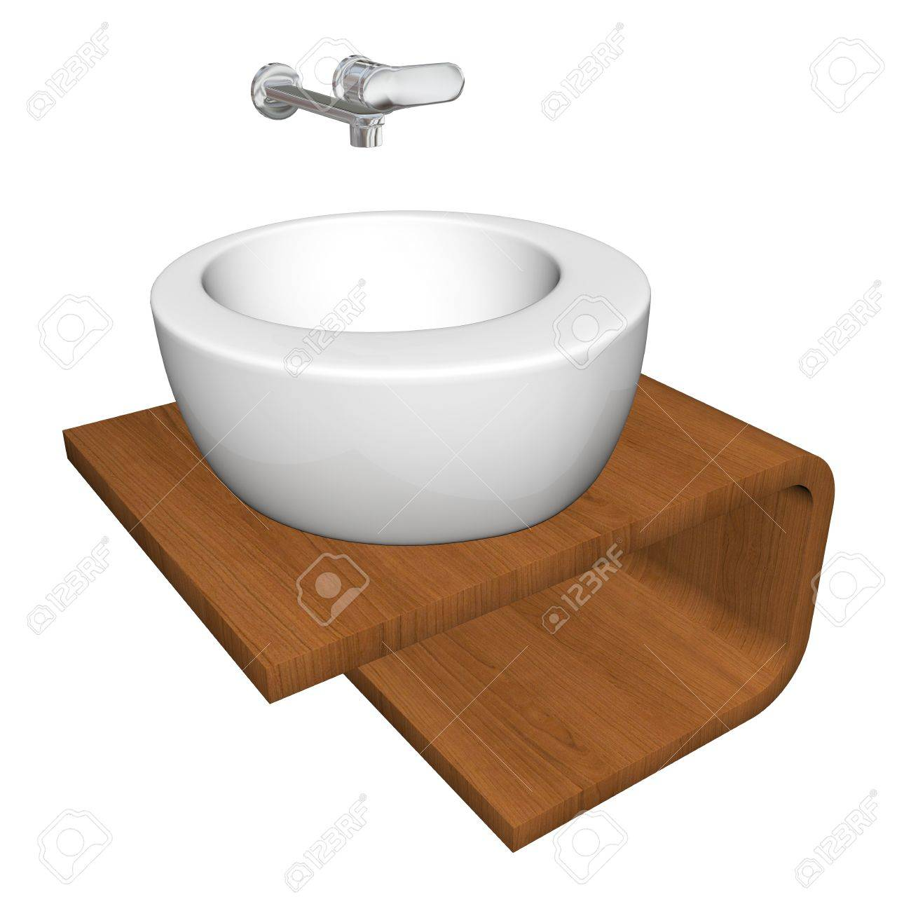 Modern bathroom sink set with ceramic or acrylic wash bowl, chrome fixtures, and wooden base, 3d illustration, isolated against a white background Stock Illustration - 10695685